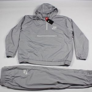 New Nike Spell Out 2 Piece Joggers Jacket Gray 2XL